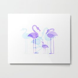Flamingo Family - Purple Metal Print