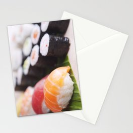 Close-up of various Japanese sushi, shallow depth of field Stationery Cards