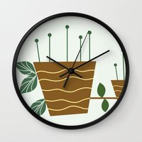 plants Wall Clocks featuring plants by aticnomar