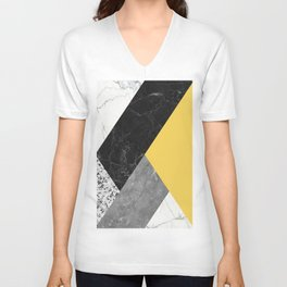Black and White Marbles and Pantone Primrose Yellow Color Unisex V-Neck