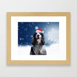 Cute Cocker Spaniel Dog Snow Stars Blue Christmas Framed Art Print