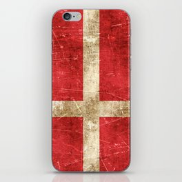 Vintage Aged and Scratched Danish Flag iPhone Skin