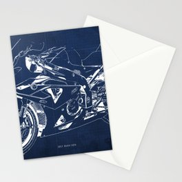 22-2013 HP4 BLUE, Blueprint motorcycle Stationery Cards