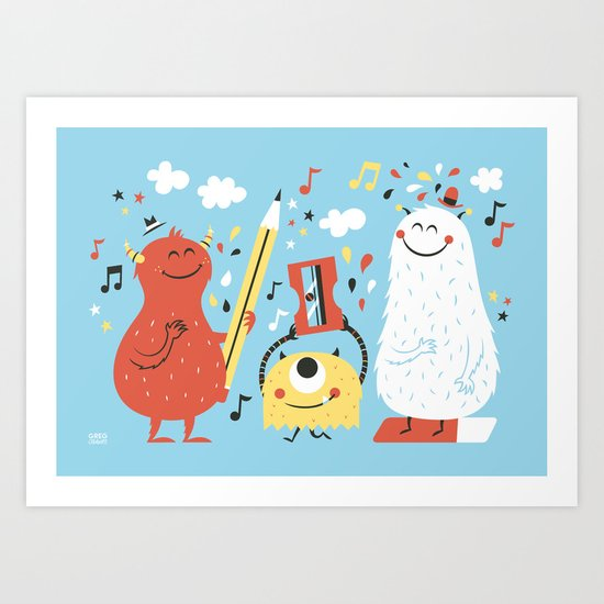 Helpers Blue Art Print