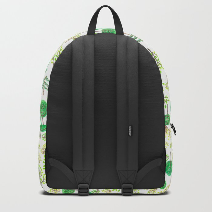Watercolor forest in doodle style Backpack