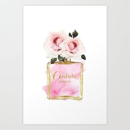 Pink Peony, Make up, Pink, gold, Perfume, Perfume bottle, with flowers, Blush Pink, Roses Watercolor Art Print