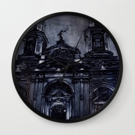Watercolor painting of the neo-classical facade of the Cathedral on the Plaza de Armas in Santiago, Wall Clock