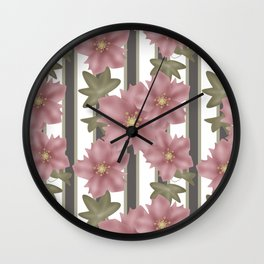 The floral pattern on striped background . Wall Clock