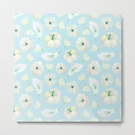 Modern hand painted blush blue white watercolor floral Metal Print