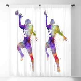 american football player man catching receiving 02 silhouette Blackout Curtain