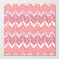 Zigzag Leaves Beautiful In Pink Canvas Print