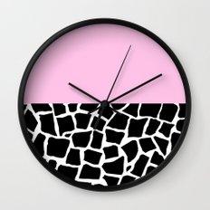 British Mosaic with Pink Boarder Wall Clock