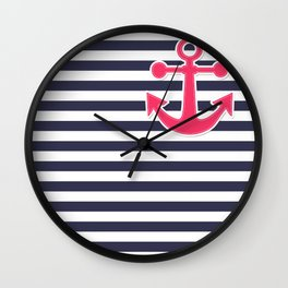 12 Blue , white , striped Wall Clock