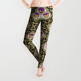 Purple Pansy Portrait Leggings