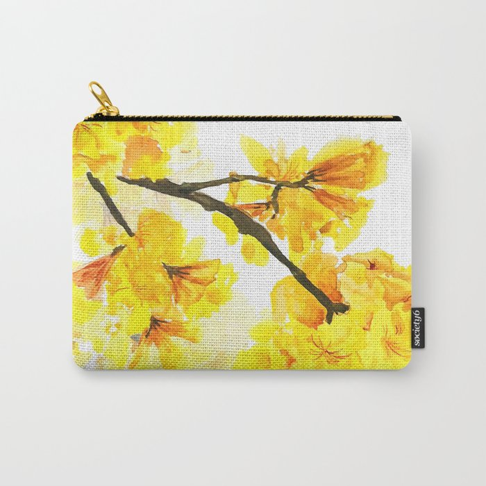 yellow trumpet trees watercolor yellow roble flowers yellow Tabebuia Carry-All Pouch
