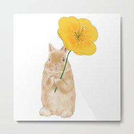 Dwarf Bunny Rabbit with Yellow Flower (Large)  Metal Print