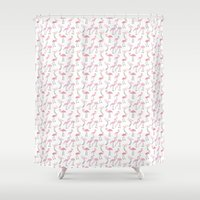 flamingos Shower Curtains featuring Flamingos by Abby Galloway