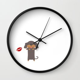 I Kissed A Dachshund And I Liked It Cute Dog Kiss Gift Idea Wall Clock
