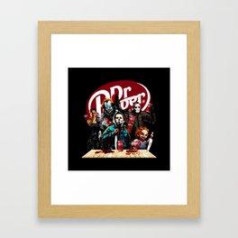 Funny Halloween Horror Characters Drinking Dr Pepper Framed Art Print