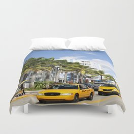 Yellow Cabs On Ocean Drive Duvet Cover