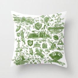 "Zelda ""Hero of Time"" Toile Pattern - Kokiri's Emerald Throw Pillow"