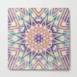 Metallic Pink Doily Geometric Star Metal Print