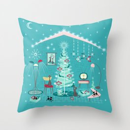 Retro Holiday Decorating Throw Pillow