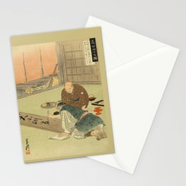 A professional writing man and an audience Stationery Cards