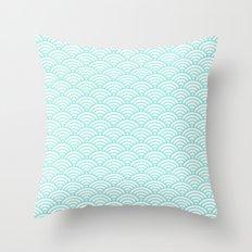 Wave Tiffany Blue Throw Pillow
