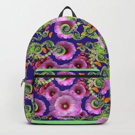 MINT GREEN FERN FRONDS & PINK HOLLYHOCKS GARDEN Backpack