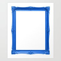 Blue Antique Frame Art Print