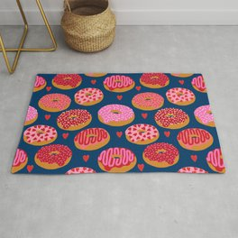 Pink and Red donuts hearts love valentines day cute gifts for foodie Rug