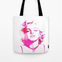 monroe Tote Bags featuring Monroe by Laura Maria Designs