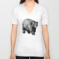 fitzgerald V-neck T-shirts featuring Bear Square by Emma Fitzgerald