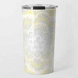 Woven Fantasy - Yellow, Grey & White Mandala Travel Mug