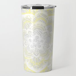 Woven Fantasy - Yellow, Grey & White Mandala Travel Mug