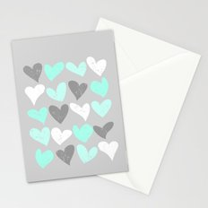 Mint white grey grunge hearts Stationery Cards