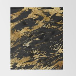 Luxury and sparkle gold glitter and black marble Throw Blanket