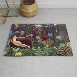 The Dream by Henri Rousseau 1910 // Jungle Lion Flowers Native Female Laying Colorful Landscape Rug
