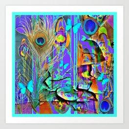 BLUE BUTTERFLY SHABBY CHIC PEELING PEACOCK PURPLE WALLPAPER Art Print