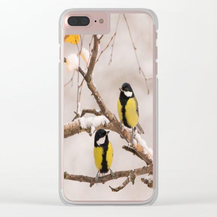 Lovely Songbirds on a Snowy Branch #decor #buyart #society6 Clear iPhone Case