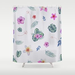 Exotic flowers and leaves Shower Curtain