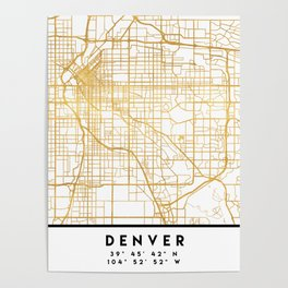 DENVER COLORADO CITY STREET MAP ART Poster