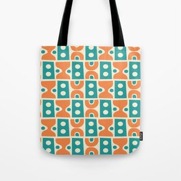 Funky Mid Century Modern Pattern 694 Orange and Turquoise Tote Bag