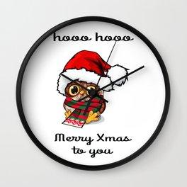 cute little xmas owl hooo hooo merry xmas to you Wall Clock