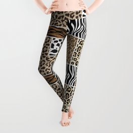 Stylized Multi-Animal Fur Print Leggings