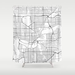 Edmonton Map, Canada - Black and White Shower Curtain