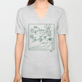 At Dawn We Grow, Green Unisex V-Neck