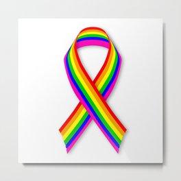 LGBT Awareness Ribbon Metal Print
