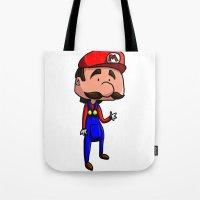 super mario Tote Bags featuring Mario - Super Mario Bros by Dorian Vincenot